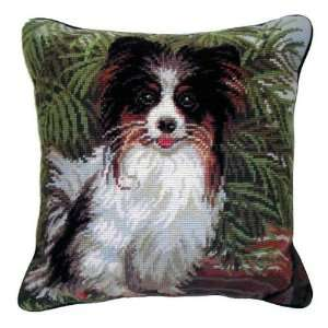 Brown & White Papillon Dog Needlepoint Pillow   14