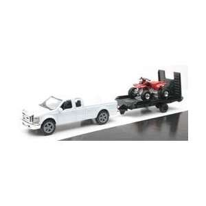 New Ray Toys 143 Scale White Ford F250 with Trailer and