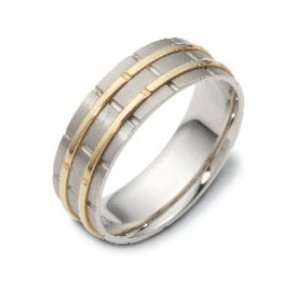 Carved & Engraved7.00 mm Designer 18K Two Tone Gold Wedding Band