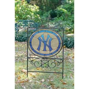 NEW YORK YANKEES Team Logo STAINED GLASS YARD SIGN (20 x