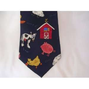 Mens Tie Navy Blue ; Farm Barn Cow Pig Animals Down on