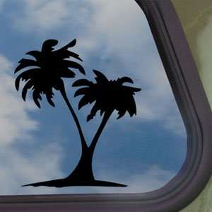 PALM TREE BEACH SUMMER Black Decal Truck Window Sticker