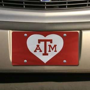 Aggies Maroon Mirrored Heart License Plate