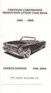 Mopar, Dodge, Chrysler Plymouth Option Code Book 1966, 1967 & 1968