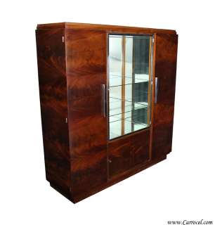 Crotch Mahogany Art Deco Armoire China Cabinet from France