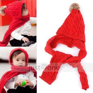 Lovely Red Baby Girls Child Kids Winter Warm Ear Flap SKI Hat Scarf