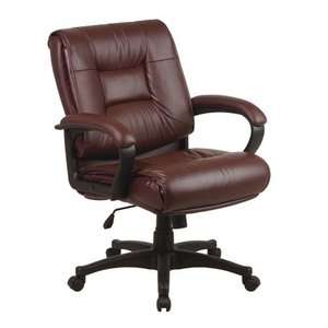 Back Managerial Black Glove Soft Leather Chair with Padded Loop Arms