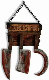 BUTCHER SHOP SIGN BLOODY WEAPONS HALLOWEEN PROP PARTY