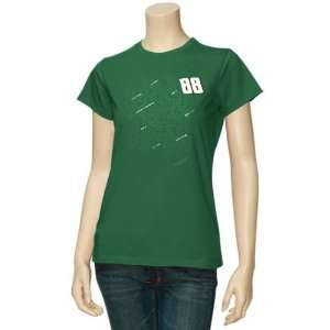 #88 Dale Earnhardt Jr. Ladies Green Fan Script T shirt
