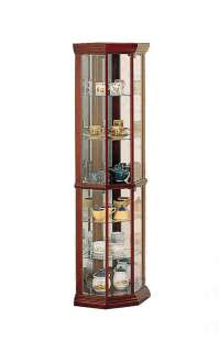 this cherry finish corner curio cabinet features glass shelves