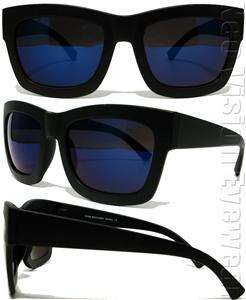 Oversized Large Wayfarer Sunglasses Retro Matte Black Blue Mirror Lens