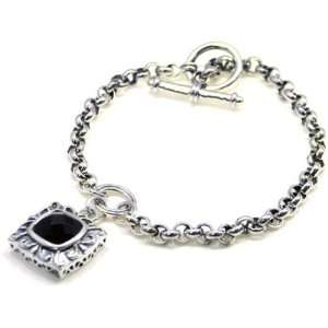 Style Square Cut Black Agate Chain Link Dangle Bracelet Jewelry