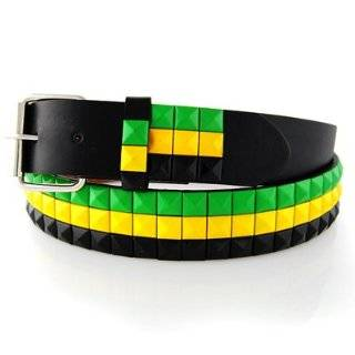 JAMAICAN COLORS STUDDED LEATHER SNAP BELT WITH REMOVABLE BUCKLE