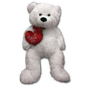 Large 28 Valentine I Love You White Teddy Bear Plush